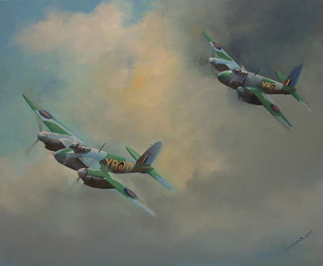 Tom Lund-Lack  'Raf Mosquitos 1943', created in 2018, Original Painting Ink.