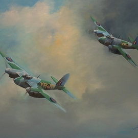 Tom Lund-lack: 'raf mosquitos 1943', 2018 Oil Painting, Aviation. Artist Description: Two De Havilland Mosquitos from 23 Sqn. YP- D YP- V were both operating from Malta in November 1943. These very successful aircraft were produced in a great number of variants, versatile, lightweight, fast and built around a mostly wooden airframe. Degree of difficulty is high as these ...