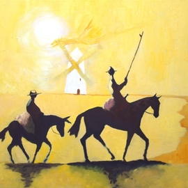 Tom Lund-lack: 'tilting at windmills', 2017 Oil Painting, History. Artist Description: Don Quixote and characters such as Sancho Panza and Don Quixote s steed, Rocinante, are emblems of Western literary culture.  The phrasetilting at windmillsto describe an act of attacking imaginary enemies, derives from an iconic scene in Cervantes novel - The Ingenious Nobleman Mister Quixote of La Mancha.  This ...