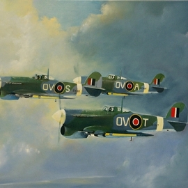 Tom Lund-lack: 'typhoons 1944', 2008 Oil Painting, Aviation. Artist Description: Commissioned piece from 2008 which I never published.  The work was to be given to a former RAF pilot who had flown one of the aircraft in the picture.  Now available as a print through POD via this web site.  Introduced in mid- 1941 it was plagued with ...