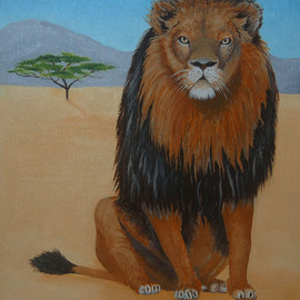 Lora Vannoord: 'African Lion', 2015 Oil Painting, Animals. Artist Description:  African Lion oil painting on a canvas Board with a one inch wooden frame. ...