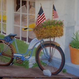 Lora Vannoord: 'Bike With FLags', 2014 Oil Painting, Sports. Artist Description:  Original oil painting on canvas board with a 2 inch wooden frame. The flags in the basket of flowers on the bike inspired me to paint the bike. Includes a wooden frame. ...