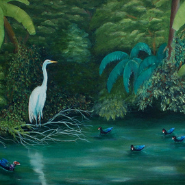 Lora Vannoord: 'Birds at the Pond', 2013 Oil Painting, Landscape. Artist Description:  Original oil painting of an Egret and several ducks at a pond in Florida. An ever changing scene I enjoyed for hours in Florida. I have chosen a 2 inch wide gold frame for this painting....