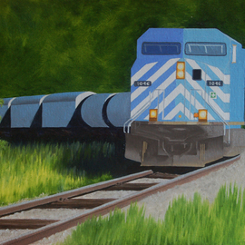 Lora Vannoord Artwork Blue Train, 2016 Oil Painting, Trains