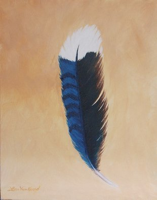Lora Vannoord: 'Bluejay Feather', 2012 Oil Painting, Birds. Original oil painting on canvas board of a feather from a Bluejay. The blue section is a Prussian Blue that matches the feather. No wonder the Bluejays are so striking! framed...