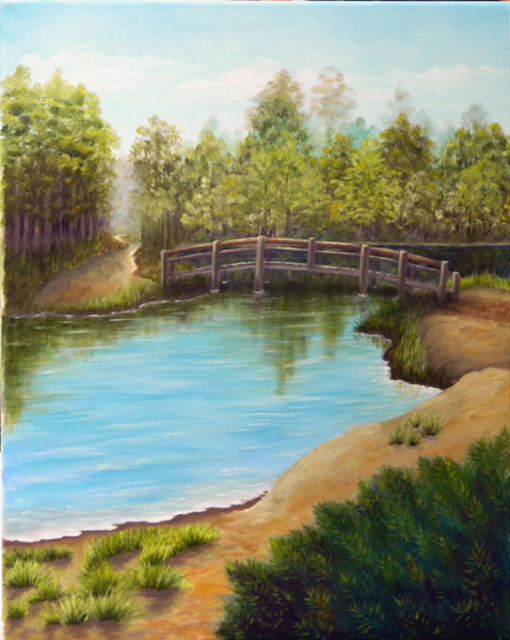 Lora Vannoord  'Bridge Over Lake', created in 2011, Original Painting Other.