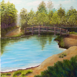 Bridge over Lake By Lora Vannoord