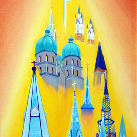Church Steeples By Lora Vannoord