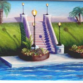 Lora Vannoord: 'Craig Park', 2011 Oil Painting, Landscape. Artist Description: Original oil painting of the steps and lamps to Craig Park in Tarpon Springs, Florida. This is where the Epiphany is held every January! It is an exciting time in Tarpon springs. framed...