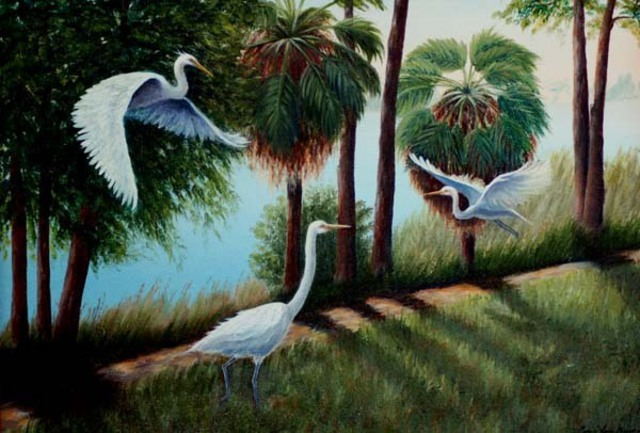 Lora Vannoord  'Egrets', created in 2010, Original Painting Other.