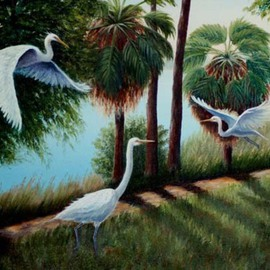 Lora Vannoord: 'Egrets', 2010 Oil Painting, Landscape. Artist Description: Original oil painting of the egrets I saw in the park in Tarpon Springs, Florida.  I watched the birds for weeks to get an idea of how to paint them in their park.  Includes a beautiful 3 wooden frame with an off white inset and a gold leaf ...
