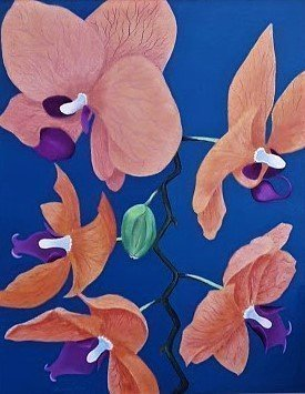 Lora Vannoord: 'Five orchids', 2020 Oil Painting, Floral. Original oil painting of my friend s Orchids...