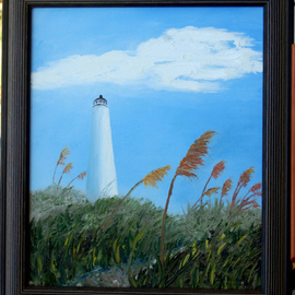 Lora Vannoord: 'Lighthouse', 2011 Oil Painting, Beach. Artist Description: Original oil painting using mostly a knife on canvas board. It has a 3 inch dark brown frame. ...