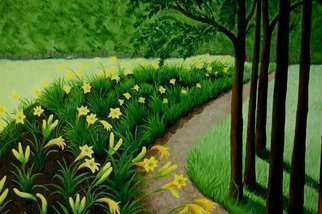 Lora Vannoord: 'Lily Garden', 2012 Oil Painting, Landscape. Original oil painting on canvas board of a yellow Lily garden.  I spotted this lovely landscape in upstate New York while visiting Elizabethtown.  The green sets off the yellow flowers making a large floral picture.  Framed...
