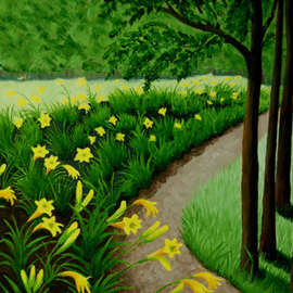 Lora Vannoord: 'Lily Garden', 2012 Oil Painting, Landscape. Artist Description: Original oil painting on canvas board of a yellow Lily garden.  I spotted this lovely landscape in upstate New York while visiting Elizabethtown.  The green sets off the yellow flowers making a large floral picture.  Framed...