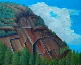 Lora Vannoord: 'Mountain', 2011 Oil Painting, Mountains. Artist Description:  An original oil painting of a mountain in the Adirondacks. It can be seen from the NY freeway on the way to Plattsburg in upstate New York. wood frame included. ...