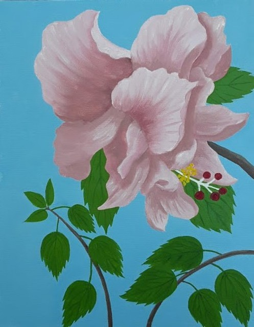 Lora Vannoord  'Pink Double Hybiscus ', created in 2020, Original Painting Oil.