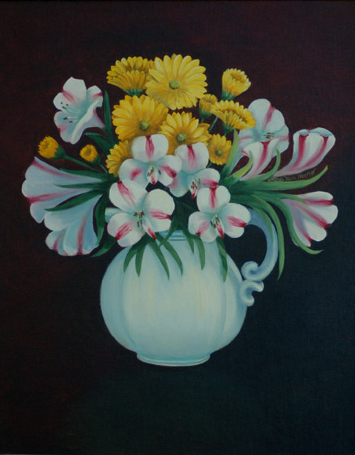 Lora Vannoord  'Pitcher Of FLowers', created in 2009, Original Painting Other.