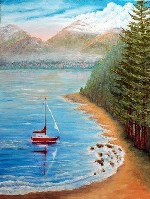 Artist: Lora Vannoord - Title: Red Sail Boat - Medium: Oil Painting - Year: 2011