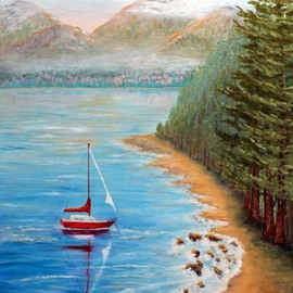 Lora Vannoord: 'Red Sail Boat', 2011 Oil Painting, Beach. Artist Description:  Original oil painting of a red sail boat on Lake Champlain in upstate New York. It was inspired as I stood on a hilly NY shore and looked across the Lake to see the green mountains of Vermont and the red sailboat. Framed...