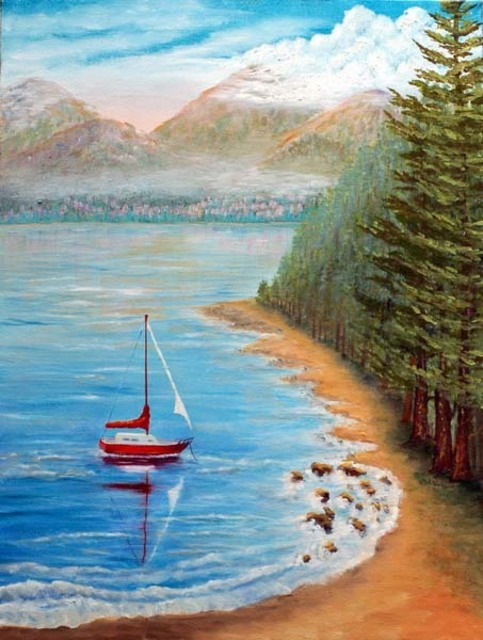 Artist Lora Vannoord. 'Red Sail Boat' Artwork Image, Created in 2011, Original Painting Other. #art #artist