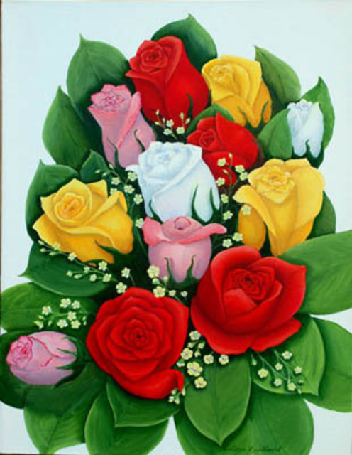 Lora Vannoord  'Rose Bouquet', created in 2012, Original Painting Other.
