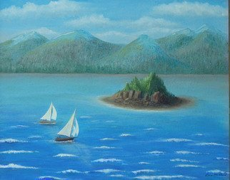 Lora Vannoord: 'Sail Away', 2010 Oil Painting, Fantasy. Original oil painting of sail boats sailing to an island. Inspired by a scene in upstate New York. I imagined two sail boats sailing away to a tiny quiet island paradiseIncludes a 1 walnut wood frame. ...
