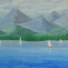 Lora Vannoord: 'Sailing', 2016 Oil Painting, Sailing. Artist Description:  Original oil painting on canvas board of sail boats on Lake Champlain and Vermont mountains, as seen from New York.  Includes a 1 34 inch wooden frame...