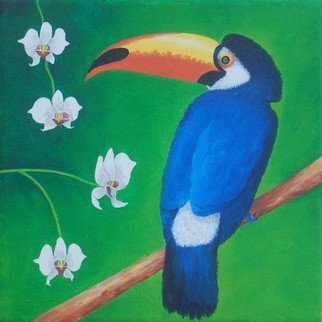 Lora Vannoord: 'Toucan bird and orchids', 2019 Oil Painting, Birds. Original oil painting on wrapped canvas.  No frame is needed for this painting of a blue Toucan bird with white orchids.  This oil painting is now on exhibit at Marguerites Restaurant in Dunedin FL until April 2019...
