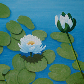 Lora Vannoord: 'Water Lilies', 2012 Oil Painting, Floral. Artist Description:  Original oil painting on canvas board of the water lilies in upstate New York with a pattern of lily pads surrounding them. ...