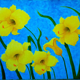 Lora Vannoord: 'Yellow Flowers', 2012 Oil Painting, Floral. Artist Description: Original Oil painting on canvas board of a yellow flowers from my friends garden.  I used a striking and busy blue to contrast the glowing yellow of the flowers.  Also available in the POD section. ...