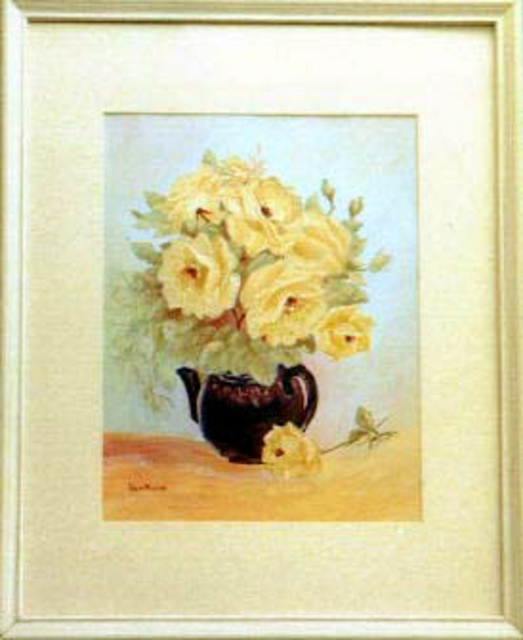 Lora Vannoord  'Yellow Roses In Teapot', created in 2011, Original Painting Other.