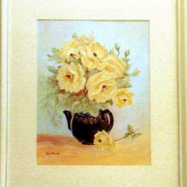Yellow Roses in Teapot