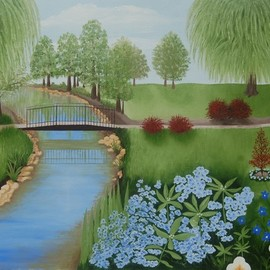 Lora Vannoord: 'blue flowers in the park', 2017 Oil Painting, Landscape. Artist Description: An original oil painting on canvas board of a park with a metal bridge and lovely blue flowers in the foreground and weeping willow trees in the background...