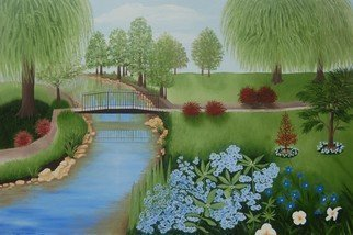 Lora Vannoord: 'blue flowers in the park', 2017 Oil Painting, Landscape. An original oil painting on canvas board of a park with a metal bridge and lovely blue flowers in the foreground and weeping willow trees in the background.  The original oil painting is now  for sale with a 1 12 inch gold frame...