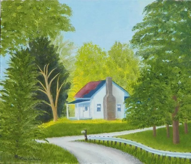 Lora Vannoord: 'country home', 2019 Oil Painting, Landscape. This is an original oil painting of a country scene in Michigan.  The early sun is just entering the lawn and the scene is still awaiting the day.  There is such a contrast between the light on the house and lawn with the trees on the sides that it was ...