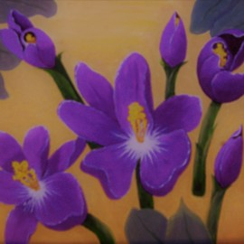 Lora Vannoord: 'crocus flowers', 2019 Oil Painting, Floral. Artist Description: Original oil painting of purple crocus flowers with a very light yellow ochra background that is close to yellow but mellow.  Real wood frame included. ...