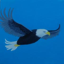 Lora Vannoord: 'eagle', 2017 Oil Painting, Birds. Artist Description: Original oil painting of a soaring eagle in the dark blue sky on a wrapped canvas that needs no frame. ...