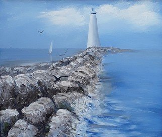 Lora Vannoord: 'lighthouse and sailboat', 2019 Oil Painting, Landmarks. Original oil painting of a Lighthouse  by rocks and a sailboat in the distance with a bird in the foreground...