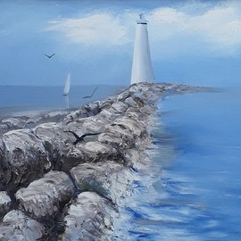 lighthouse and sailboat  By Lora Vannoord