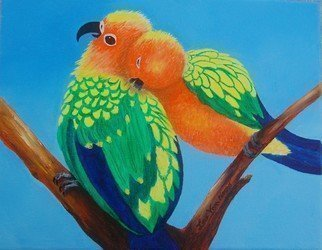 Lora Vannoord: 'lovebirds', 2018 Oil Painting, Birds. original oil painting of a pair of Lovebirds in a tree, one grooming the other.  The painting is in a wooden frame with a three inch off- white insert.  This oil painting is on exhibit at Marguerites Restaurant in Dunedin FL now. ...