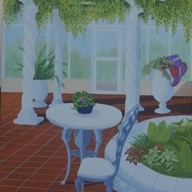 Lora Vannoord: 'meijergardenroom', 2018 Oil Painting, Architecture. Artist Description: original oil painting on masonite of a lovely sitting room at Meijer Garden in Grand Rapids, Michigan...