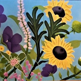 Lora Vannoord: 'summer flowers', 2020 Oil Painting, Floral. Artist Description: Oil painting of Sunflowers, purple periwinkles, yellow gergera, magenta bell flowers and other summer flowers  It is a fun combination of colors  3 inch wide frame included if you wish.  This painting is a great companion to my  Garden  oil painting. ...