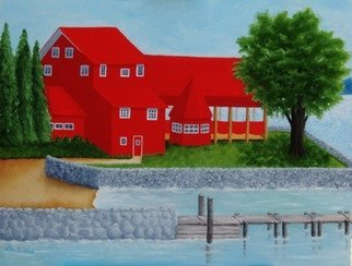 Lora Vannoord: 'the red restaurant', 2017 Oil Painting, Americana. Artist Description: This oil painting on wood is of a Red Restaurant along Lake Champlain on the New York side. Customers can drive there or sail there ...