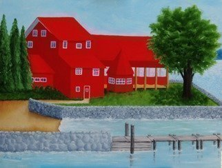 Lora Vannoord: 'the red restaurant', 2017 Oil Painting, Americana. This original oil painting on wood is of a Red Restaurant along Lake Champlain in Essex,  New York side.  Customers can drive there or sail there for lunch or dinner.  1 and 12 inch wooden gold frame included. ...