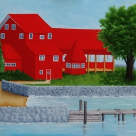 Lora Vannoord: 'the red restaurant', 2017 Oil Painting, Americana. Artist Description: This original oil painting on wood is of a Red Restaurant along Lake Champlain in Essex,  New York side.  Customers can drive there or sail there for lunch or dinner.  1 and 12 inch wooden gold frame included. ...