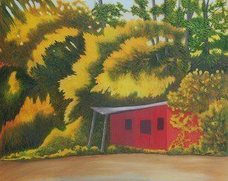 Lora Vannoord: 'the red shed', 2018 Other Painting, Americana. This is an original oil painting on canvas board of an old red shed on the edge of the forest in the fall.  Lovely fall yellow leaves dominate the painting.  A custom frame is a 1 12 inch Deep Cherry.On exhibit at the Strand for the Arts in Plattsburgh ...