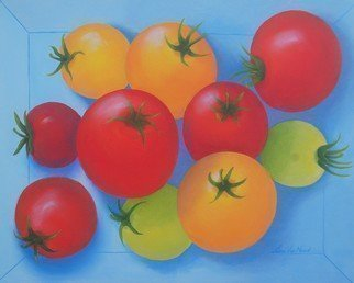 Lora Vannoord: 'tomatoes', 2018 Oil Painting, Food. Artist Description: An original oil painting on canvas inspired by visiting an  organic  farm in New York that had tomatoes of many lovely colors...