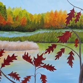 Lora Vannoord: 'view of the marsh', 2020 Oil Painting, Landscape. Artist Description: Original oil painting of a marsh in New York, next to Lake Champlain.  The fall colors are in their best display here when viewing from the road. ...