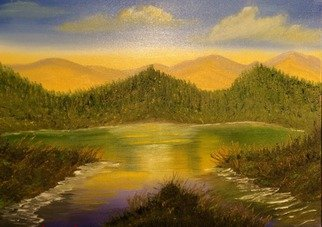 Leonard Parker Artwork Bass Lake Mountain Landscape, 2016 Oil Painting, Landscape